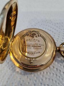 Pateck Geneve Taschenuhr Gold 14kt Spiral Breguet Ancre 15 Rubis Ligne Droite