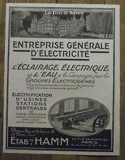 Publicité HAMM Entreprise generale electricite groupe electrogéne  1921, advert