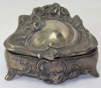 Large Vintage Jewerly Casket Trinket Box Silvertone