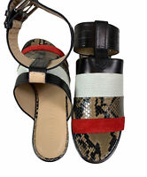 Belstaff Red & White Stripe Womens Flat Sandals Snakeskin Flats Made In Italy 36