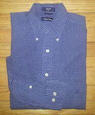1006c M Navy Blue Black Gray Plaid NAUTICA Navy Blue Logo Casual Dress Shirt!