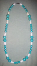 vintage Old vintage Blue & White plastic beaded strand 25 inch necklace NR