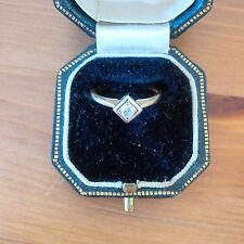 Diamond Solitaire arund 0.3Ct 14K gold size N Robert Scott Glasgow vintage boxed