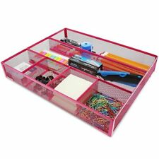 Pink Mesh Metal Office Desk Drawer Organizer Tray, 15 x 12 x 2.5 Inches