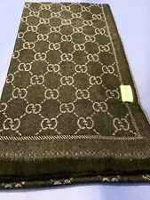 Gucci Authentic scarf shawl knitted wrap, rectangular fringed knitted grey black