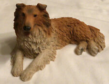 Original Castagna Sable And White Rough Collie Dog Resin Made In Italy-1992