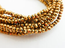 1 Strand (Approx 200 Beads) Gold Electroplate Abacus 2.5mm x 2mm Faceted Beads