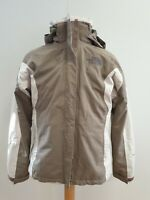 M513 WOMENS THE NORTH FACE HYVENT BEIGE BROWN HOODED REMOVABLE FLEECE JACKET UKM
