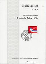 Alemania Olimpiadas Spiele Hojita Primer Día año 1976 (CQ-990)