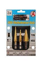 Kraftmann BGS HSS Stufenbohrer Satz 3-teilig 3-20 mm mit Tasche titanbeschichtet