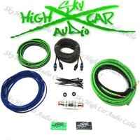 Oversized 8 Ga Amp Kit w Twisted RCA Green Black Complete Sky High Car Audio