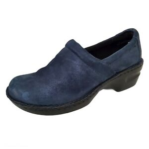 BOC Born Peggy Clogs Women's Size 10 42 Blue Suede Leather Wedge Shimmer Slip On