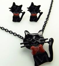 Cute Black Kitty Cat Stud Earrings and Necklace Retro Red Bow Fashion Jewellery