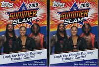 (2) 2019 Topps WWE  SUMMER SLAM Wrestling Trading Cards 71c Retl BLASTER Box LOT
