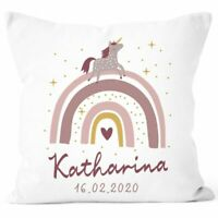 personalisierbarer Kissen-Bezug zur Geburt Mädchen Regenbogen Einhorn