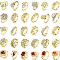 51 Style 18K Gold Plated Rhinestone Zirconia RingsJewelry Xmas Gift Size 7-10