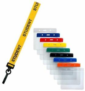 STUDENT Lanyard Yellow Neck Strap & Coloured Flexible Wallet ID Card Pass Holder