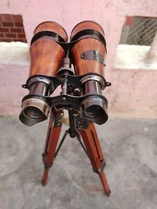 Nautical Scope Leather Covered Maritime Table Top Binoculars With Wooden Tripod