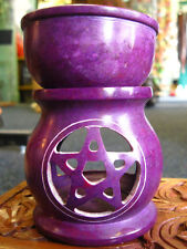 SOAPSTONE OIL BURNER Pentagram TEA LIGHT HOLDER Diffuser PAGAN AROMATHERAPY