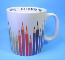 """Vintage Best Teacher Ever Oversized Mug - Colored Pencils by Novogratz 4.25"""" T"""