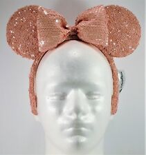 Disney Exclusive Minnie Mouse Ears Sequins Millennial Pink Bow Headband New Cute
