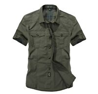 2020 Men's Short Sleeved Army Cargo Casual Shirt Work Military Dress Shirts Tops