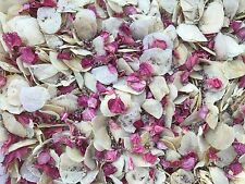 Natural Biodegradable Wedding Confetti Pink & Ivory Petals, Dried Vintage Flower