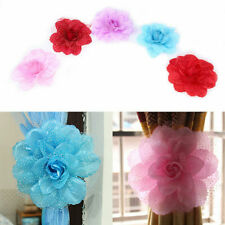 2Pcs Curtain Peony Flower Clip-on Tie Back Rope Room Window Cloth Wire Holdback