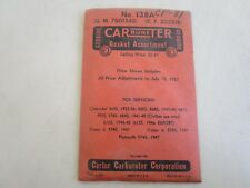 1939-40 Chevrolet Plymouth Carter Carburetor Rebuild Kit #138A ORIGINAL NOS