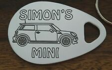 Personalised MINI COOPER car keyring 2006-14 ANY NAME engraved key ring fob