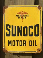 VINTAGE SUNOCO MOTOR OIL PORCELAIN METAL SIGN GAS STATION MERCURY PETROLIANA