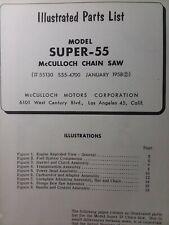 Mcculloch Super 55 Chain Saw Parts Manual Chainsaw 1958 Gasoline Engine 2 Stroke