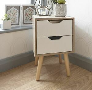 Designer Bedside Cabinet 2 Drawer Oak Veneer Bedroom Solid Wood Legs B Seconds