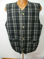 Mens Paragraff Wool Blend Black and Gray Button Front Vest Tag M