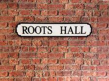 Vintage Wood Street Road Sign ROOTS HALL