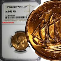 GREAT BRITAIN Elizabeth II 1958 1/2 Penny NGC MS65 RD FULL RED TONING KM# 896