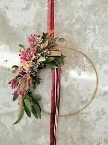 Flower Hoop Metallring pink bordeaux Trockenblumen Wandkranz Türkranz