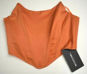 Pretty Little Thing Women Orange Back Zip Satin Pointed Hem Bandeau Corset 0