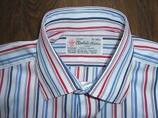 """TURNBULL & ASSER CLASSIC FIT STRIPED COTTON SHIRT FRENCH CUFF SIZE 15"""" - 38cm"""