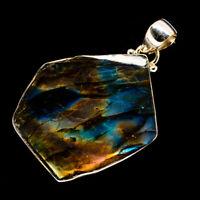"Labradorite 925 Sterling Silver Pendant 1 3/4"" Ana Co Jewelry P726762F"