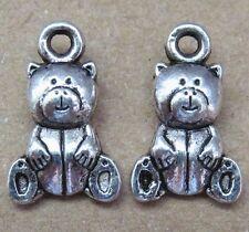 15pc Retro Tibetan Silver Charms 2-Sided Bear Accessories Jewelry Making PJ10