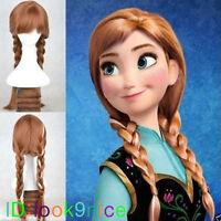 Hot Disney Princess Frozen Snow Queen Anna Yellow Weave Ponytail Cosplay Wigs