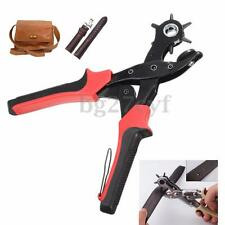 6 Sized Revolving Heavy Duty Leather Hole Punch Hand Pliers Belt Eyelet Puncher