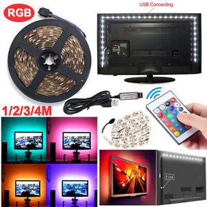 5V 5M LED Strip Lights 5050 RGB Multi Colour USB TV PC Back Mood Lighting+Remote