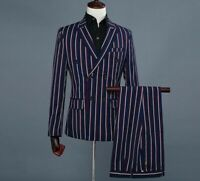 Striped Men's Suit Set Skinny Flat Formal Events Double Breasted Stylish Clothes
