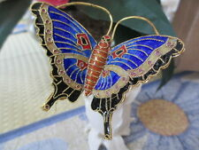 CLOISONNE BUTTERFLY ~ WINE STOPPER ~ NAVY WITH BLACK MARKINGS