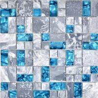 Mosaik Fliese Transluzent grau blau Kombination Glasmosaik 88-0404 | 1 Matte