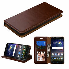 Brown Stand Wallet Flip Leather Case for Motorola Moto X Force / DROID Turbo 2