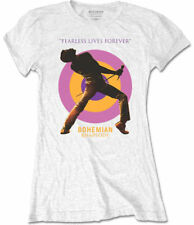 Queen Bohemian Rhapsody Film 'Fearless' Womens Fitted (White) T-Shirt - NEW