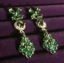A White Gold GF Emerald & Diamante Swarovski Elements Drop Earrings Plum UK BOXD